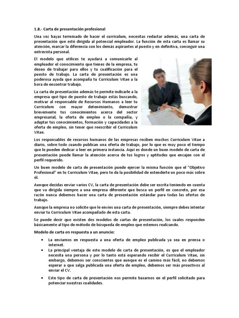 1.8 Carta de Presentación Profesional