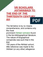 Akhbåri Scholars From Astaråbådi to the End of the Thirteenth Century Ah