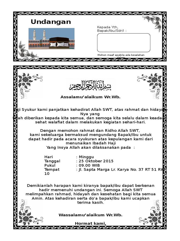 Tasyakuran Haji Undangan Selamatan Haji Nusagates