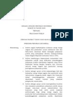 UU No.25 Tahun 2009 Tentang Pelayanan Publik
