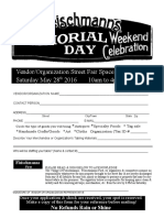 Fleischmanns Memorial Day Weekend 2016 Vendor Application