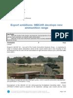 Export Ambitions MECAR Develops New Ammunition Range
