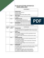 Calendario de Evaluaciones Matematicas