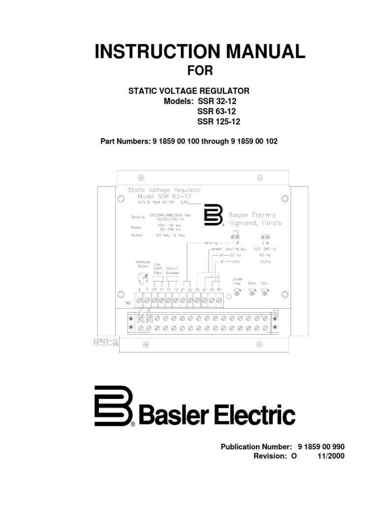 Basler Generator Wiring Diagram Automotive Diagrams For Whole House Ssr Instruction Manual Electric Switch