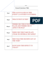General Question Table