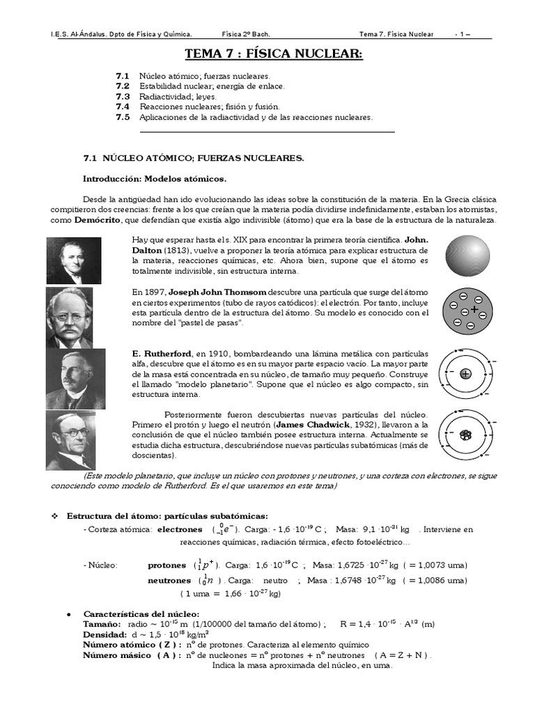 Fisica Nuclear Energía Nuclear Núcleo Atómico