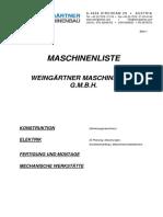 Maschinenliste