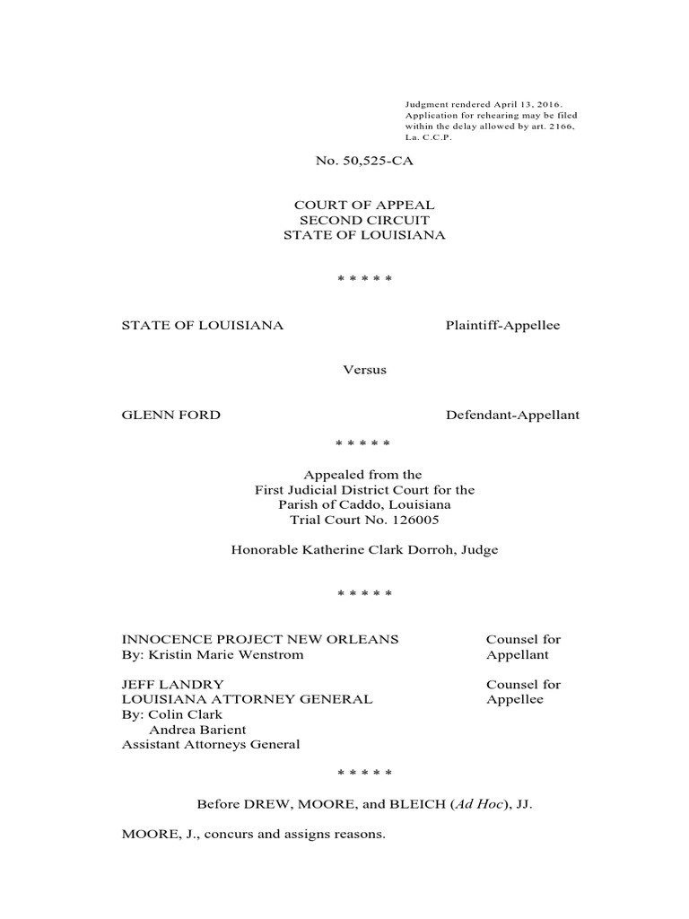Louisiana Second Circuit Court Address Db 2nd Of Appeals Appeal Opinion On Glenn Ford Compensation Burden Proof Law