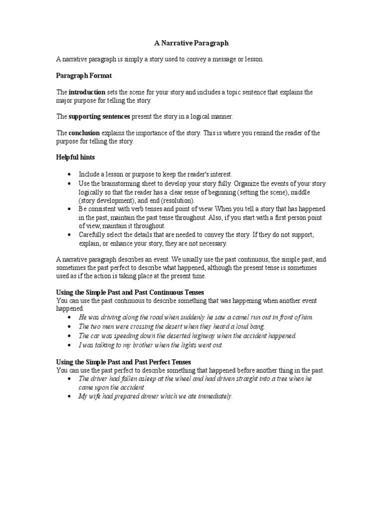 narrative paragraph format