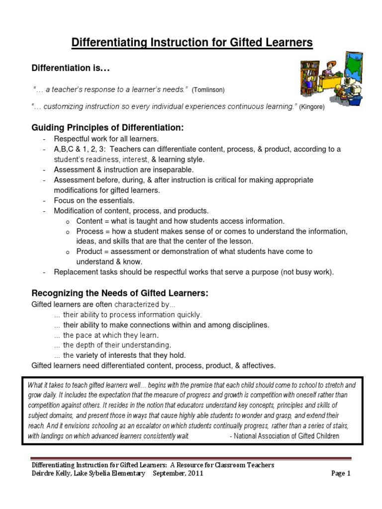 Differentiating For Gifted Learners 1 Gifted Education
