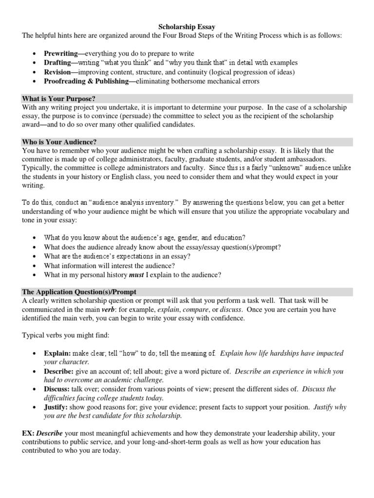 416 Scholarship Essay Hints | Essays | Communication