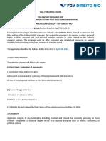 Call For Applications Fellowship FGV RIO