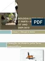 (5) Biologia e Geologia - 10º Ano - Obtenção de Matéria
