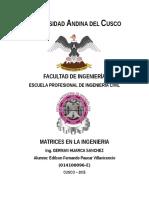 Aplicacion de las matrices en la ingenieria civil