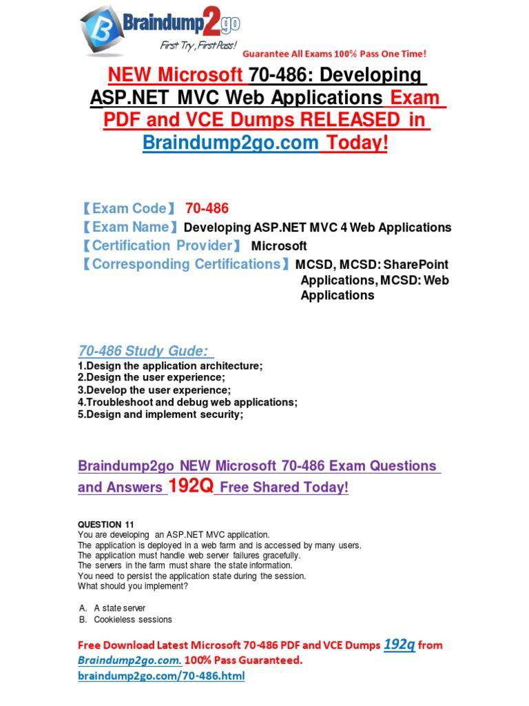 Microsoft 70 486 Exam Dumps Offer System Software Web Development