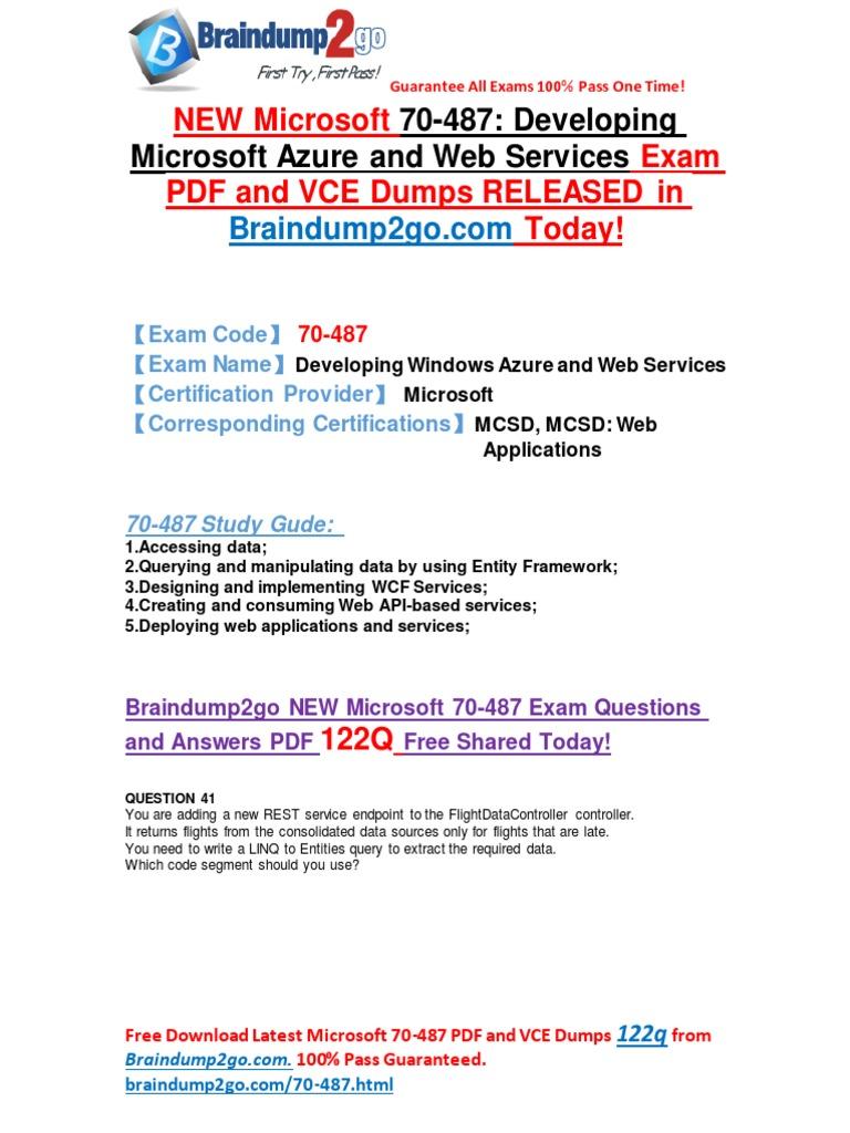 New Microsoft 70 487 Exam Questions Pdf 122qas Share Entity