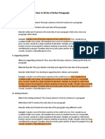 Auerbach Handout Paragraph Writing Examples