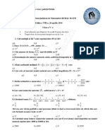 Subiect Clasa a v-A Rural Math 8