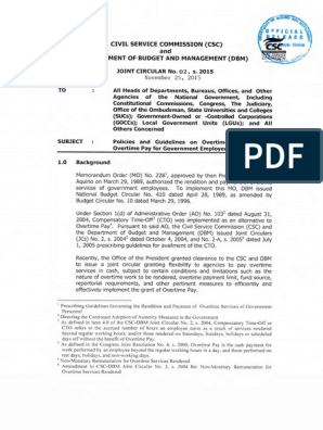 CSC-DBM Guidelines on Overtime   Overtime   Working Time