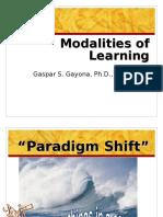 Modalities of Learning