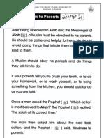Grade 1 Islamic Studies - Worksheet 6.5 - Kindness to Parents