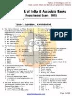 SBI & Associate Banks Clerk Recruitment Exam, 2015