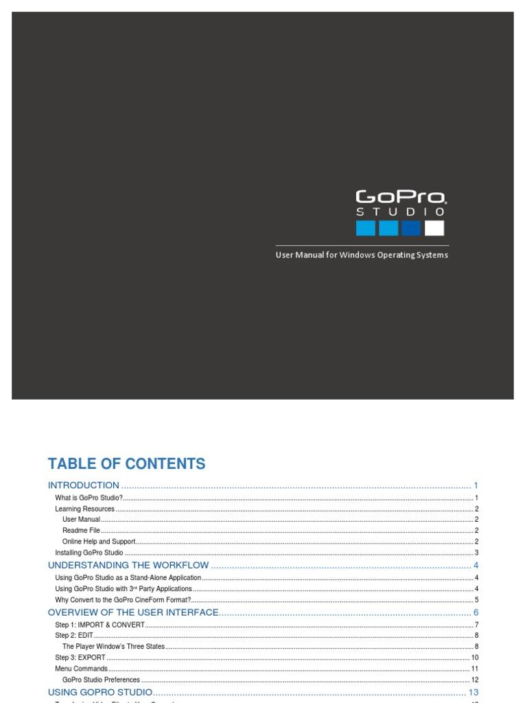 GoPro Studio Manual   File Format   Computer File