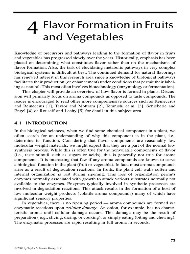 flavor formation in fruits and vegetables metabolism ester