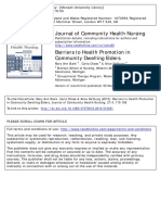 Barriers to Health Promotion in Community Dwelling Elders