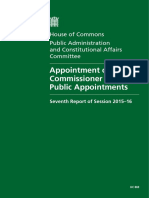 Appointment of the Commissioner for Public Appointments - PACAC report