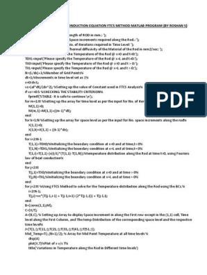 One Dimensional Heat Conduction FTCS Matlab Program | Thermal