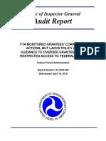 FTA Oversight of At-Risk Grantees^4-12-16