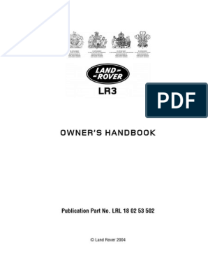 Land Rover LR3 Owners Handbook | Airbag | Automatic Transmission