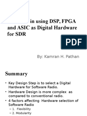 Trade-Off in Using DSP, FPGA and ASIC as Digital Hardware