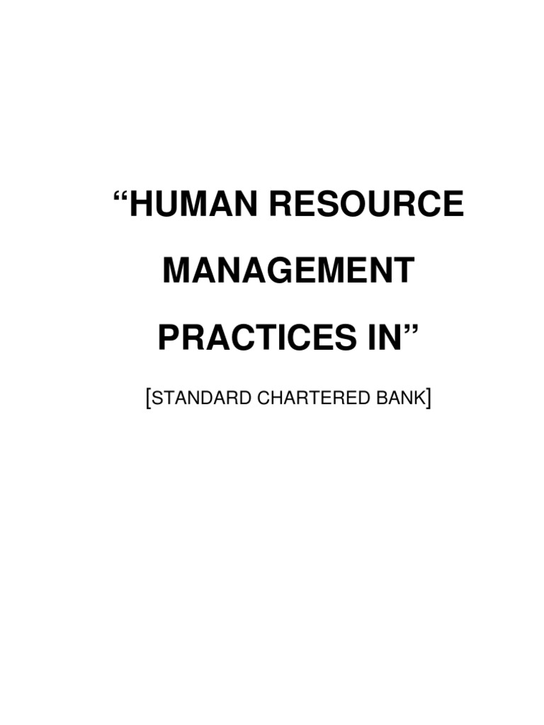 """Human Resource Management Practices In"": Standard"