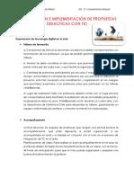 PLANIFICACIÓN E IMPLEMENTACIÓN DE PROPUESTAS DIDÁCTICAS  CON TIC.