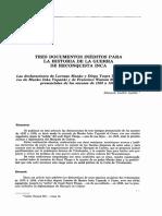 3 Documentos Inéditos Para La Historia de La Reconquista Inca