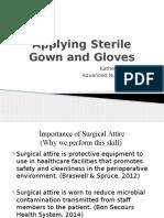 applying sterile gloves