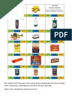 Shopping Comparison Homework