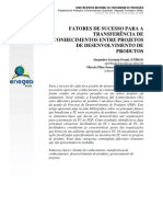 FATORES DE SUCESSO PARA A TRANSFERÊNCIA DE CONHECIMENTOS ENTRE PROJETOS DE DESENVOLVIMENTO DE PRODUTOS