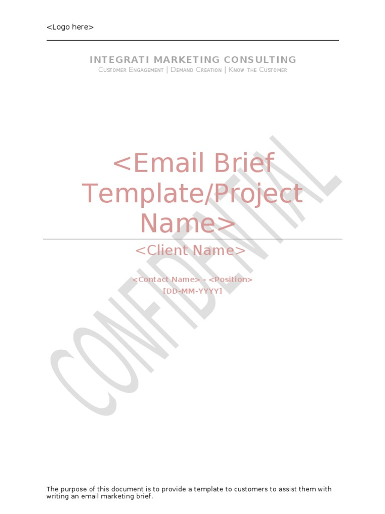 Email Marketing Brief Template Email Direct Marketing - Marketing brief template