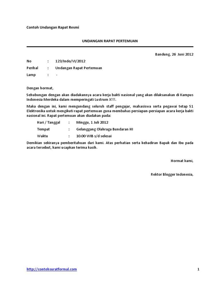 Contoh Surat Undangan Rapat Resmi