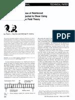 Predicting Response of RC Beam Shear Using MCFT