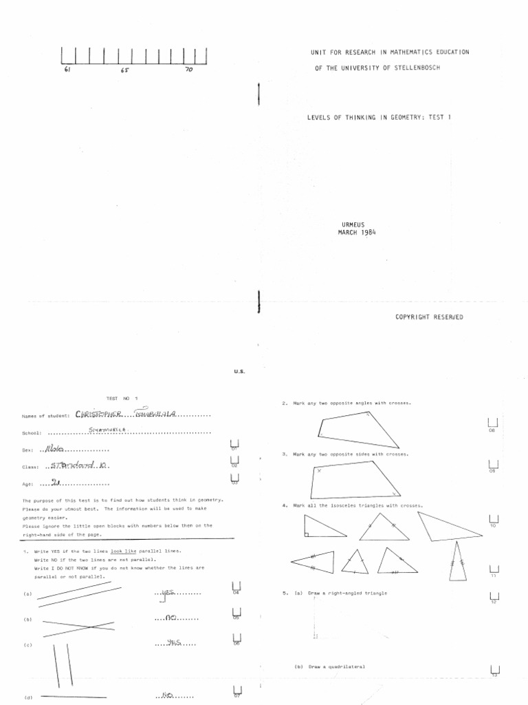 Geometry Levels of Thinking Test 1 (1984)