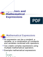 Operators & Mathematical Expression