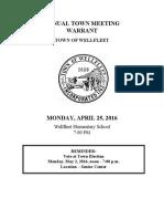 2016 Wellfleet Town Meeting Warrant