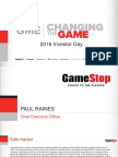 GameStop 2016 Investor Day Afternoon Session