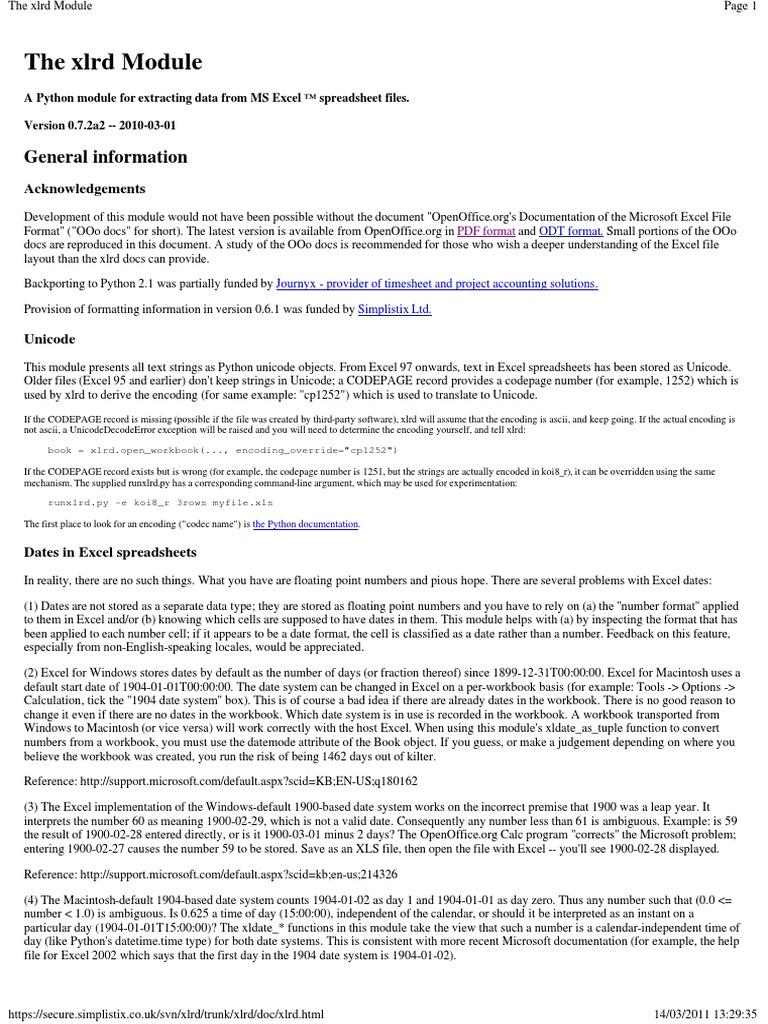 The Xlrd Module | Microsoft Excel | Spreadsheet