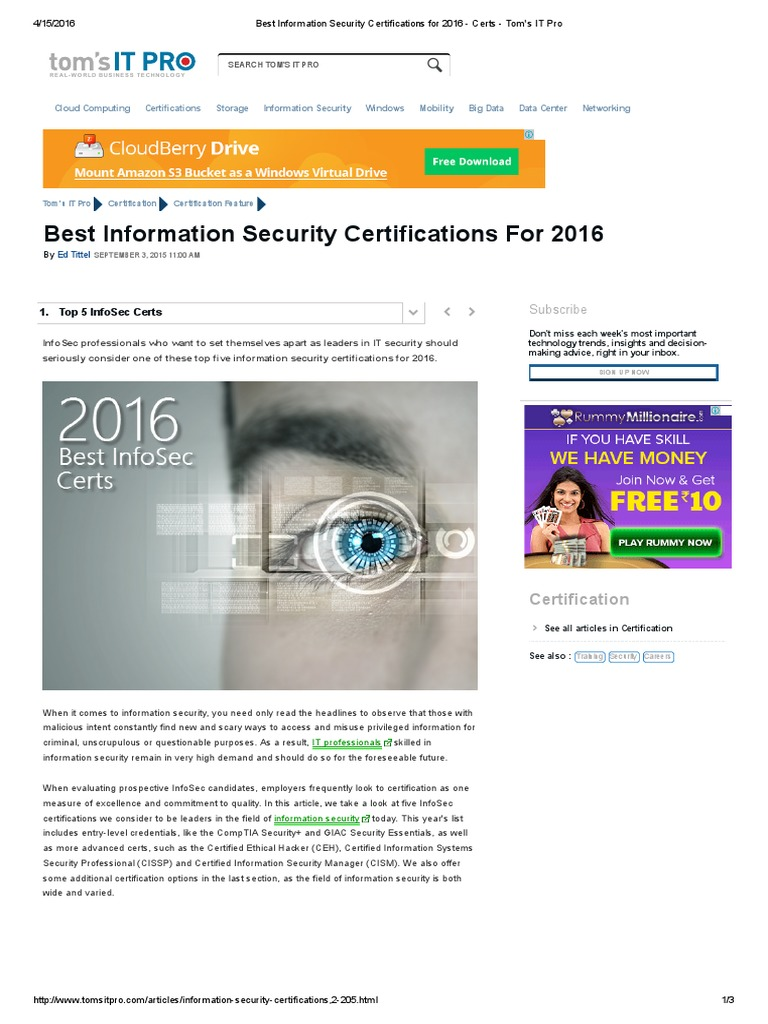 Best Information Security Certifications for 2016 - Certs - Tom\'s IT ...