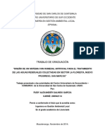 """DISEÑO DE UN SISTEMA CON HUMEDAL ARTIFICIAL PARA EL TRATAMIENTO DE LAS AGUAS RESIDUALES COLECTADAS EN SECTOR LA FLORESTA, NUEVO PROGRESO, SAN MARCOS"""""""